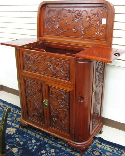 658: CARVED ROSEWOOD CABINET BAR, Chinese, 20th  centur