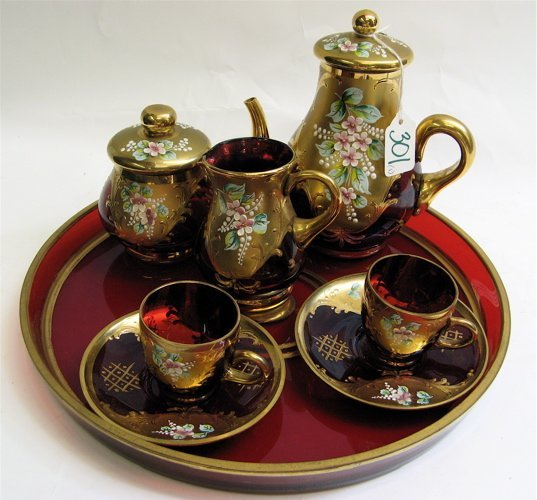301: BAVARIAN RUBY RED TEA SET WITH TRAY: ornate gold a