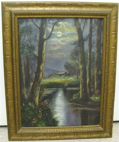 302: AMERICAN OIL ON CANVAS, c. 1920's.  Landscape at m