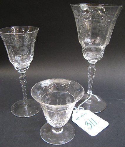 311: FORTY-EIGHT PIECE SET OF CLEAR CRYSTAL STEMWARE, e