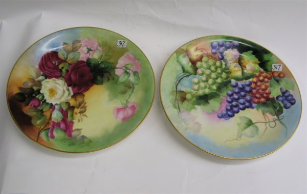 317: PAIR FRENCH LIMOGES PORCELAIN CHARGERS