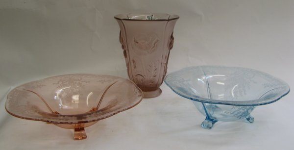 318: THREE MOLDED GLASS ITEMS. Two are Fostoria-like  b