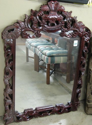 324: A PAIR OF WALL MIRROR, in matching carved  mahogan