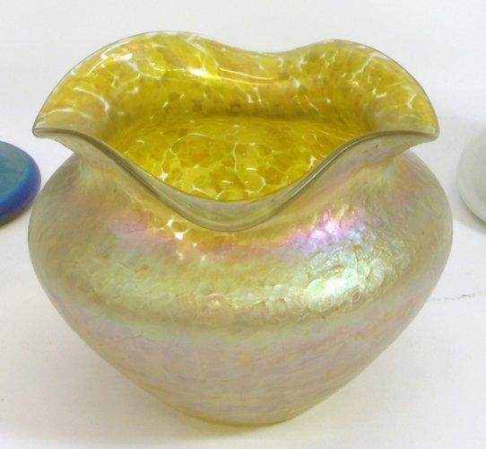 605: LOETZ ART GLASS BOWL having gold iridescent  field