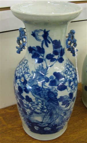 606: CHINESE PORCELAIN VASE, hand painted with  bird an