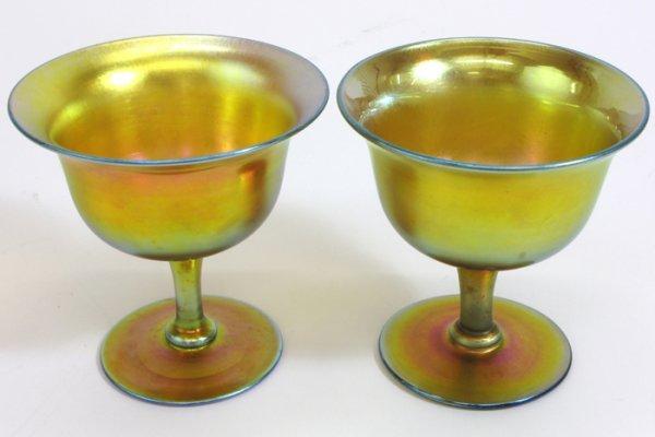 607: TWO STEUBEN GOLD AURENE ART GLASS GOBLETS,  reflec