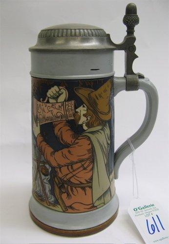 611: METTLACH GERMAN BEER STEIN, one liter, no. 2522. E