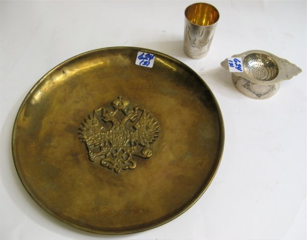 624: THREE RUSSIAN PIECES: sterling silver tea  straine
