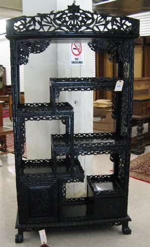 646: CHINESE CHIPPENDALE STYLE ETAGERE, early 20th  cen
