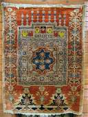 678: FINE ANTIQUE PERSIAN SILK TABRIZ PRAYER RUG,  west