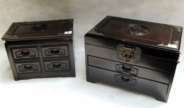 3: TWO CHINESE ROSEWOOD JEWELRY BOXES.  The largest wit