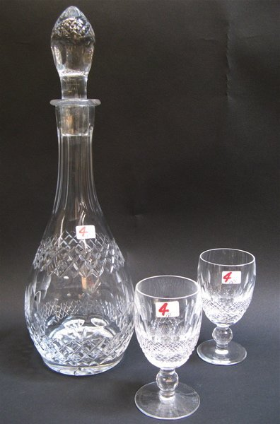 4: THREE PIECE CUT CRYSTAL DECANTER SET, including  the