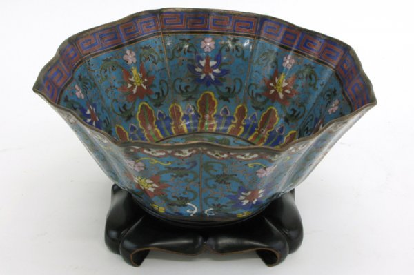 8: AN UNUSUAL CHINESE CLOISONNE ENAMEL CENTER BOWL, of