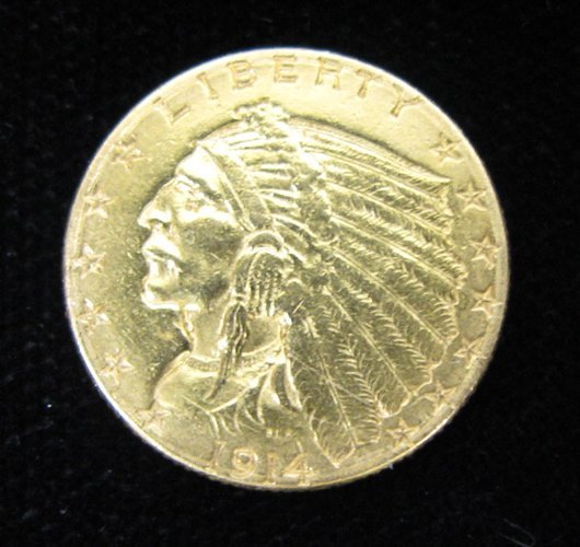 12: U.S. TWO AND ONE-HALF DOLLAR GOLD COIN, Indian  hea