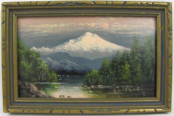 """13: ELIZA R. BARCHUS MINIATURE OIL ON PANEL  """"Mt. Hood"""
