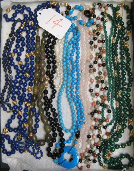 14: COLLECTION OF BEADED NECKLACES AND BRACELETS:  two