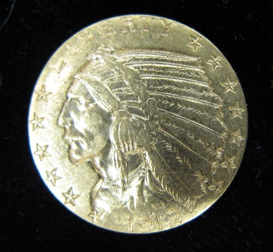 16: U.S. FIVE DOLLAR GOLD COIN, Indian head variety, 19