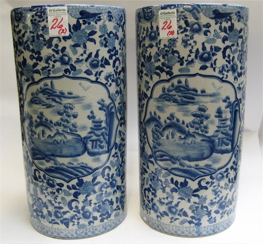 26: PAIR BLUE AND WHITE CHINESE PORCELAIN  FLOOR VASES,