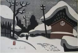 91 KIYOSHI SAITO COLOR WOODCUT  Japan 19071992  A w