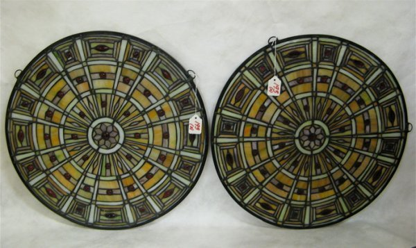 193: PAIR ROUND STAINED AND LEADED GLASS WINDOW  PANELS