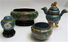 """287: CHINESE """"JADE"""" TREE AND FOUR CLOISONNE ITEMS. The"""