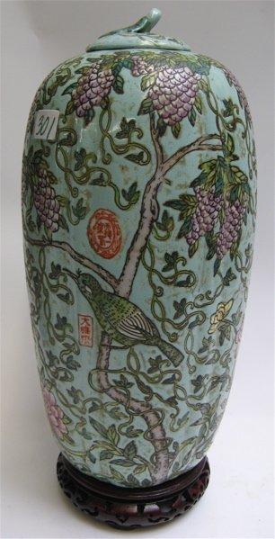 301: CHINESE ENAMELED PORCELAIN MELON JAR, hand  enamel