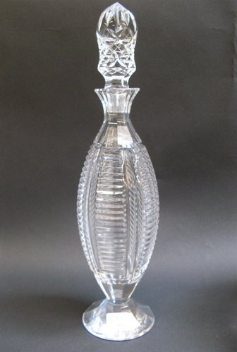 302: AN AMERICAN CUT CRYSTAL WINE DECANTER, having  not