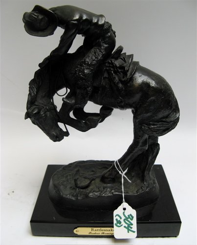 """304: A BRONZE MINIATURE """"RATTLESNAKE"""" and pewter  minia"""