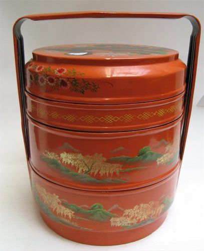305: CHINESE LACQUER FOUR-STACK FOOD BOX, hand  decorat