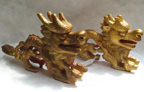 307: PAIR HAND CARVED RED & GILT WOOD DRAGON FIGURES, s