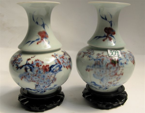 309: PAIR OF CHINESE PORCELAIN VASES, pear form with  l