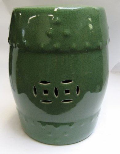 313: GREEN PORCELAIN CHINESE GARDEN STOOL 18 in. tall;