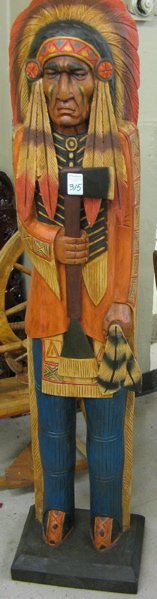 315: FIGURAL CARVED AND PAINTED WOOD FLOOR SCULPTURE, t