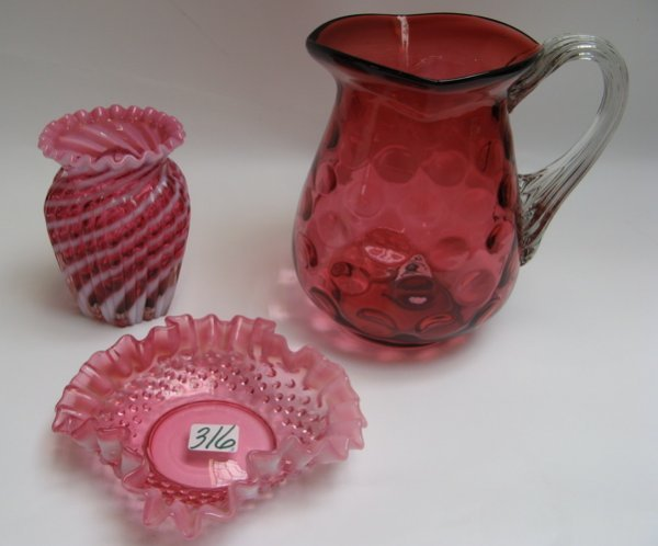 316: THREE COLORED GLASS ITEMS.  One is a Cranberry  co