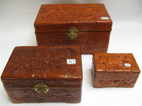 317: CHINESE HAND CARVED CAMPHOR WOOD NESTING BOXES,  t