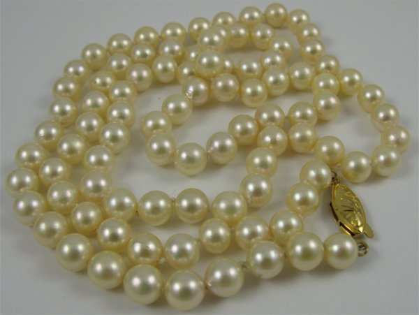"""321: PEARL AND SILVER NECKLACE, 31"""" in length and  stru"""
