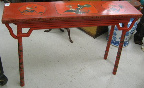 486: CHINESE ALTAR TABLE AND DRUM STOOL, with  matching