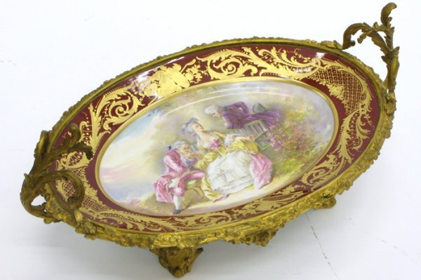 601: 19TH C. PORCELAIN AND GILT METAL  CENTER BOWL
