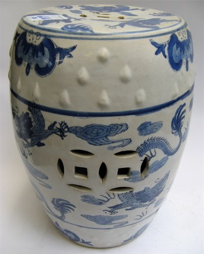 606: TWO CHINESE PORCELAIN BLUE AND WHITE GARDEN  STOOL