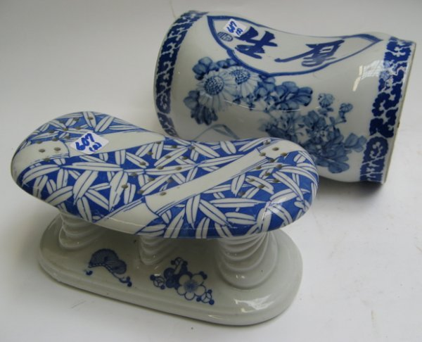 607: TWO CHINESE BLUE AND WHITE PILLOW/HEAD RESTS.  One