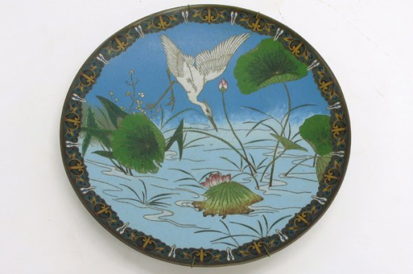 609: A JAPANESE CLOISONNE ENAMEL CHARGER, with water  s