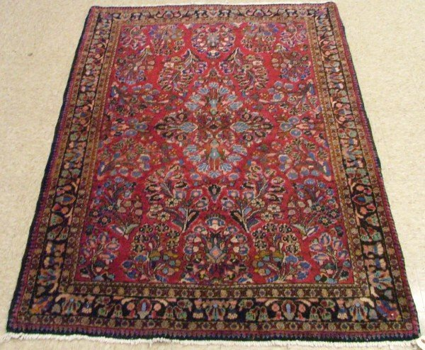 616: SEMI-ANTIQUE PERSIAN SAROUK AREA RUG, hand  knotte