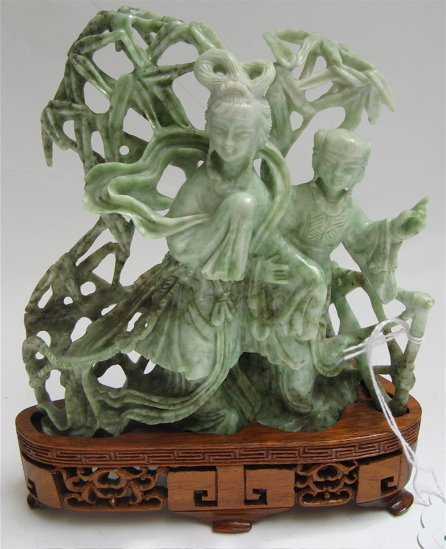 "617: CHINESE ""JADE"" FIGURAL DISPLAY, of two beautiful w"