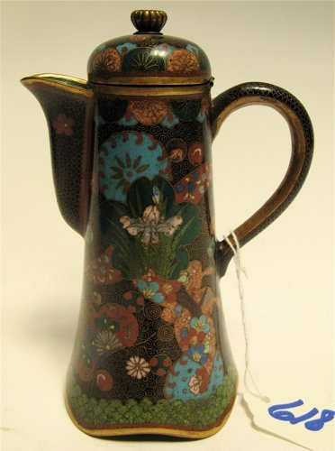 618: CLOISONNE ENAMEL COVERED INDIVIDUAL TEAPOT. The  b