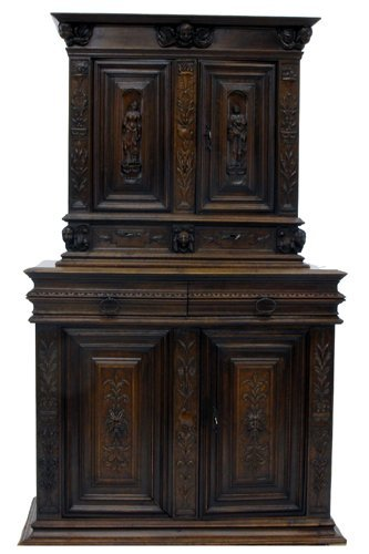 619: RENAISSANCE STYLE CARVED OAK CABINET-ON-CABINET, F