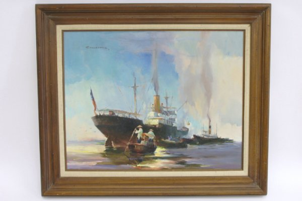 620: CHARLES STANFORD OIL ON CANVAS  Two steamships wit