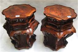 652: PAIR CHINESE HANG HUA LI HARD WOOD STANDS. Each  w