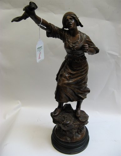 "1: FRENCH SPELTER titled ""Distress"", woman standing and"