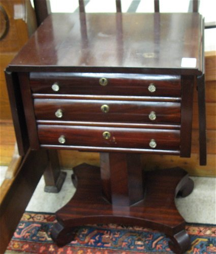 10: EMPIRE REVIVAL MAHOGANY WORK TABLE, American,  earl