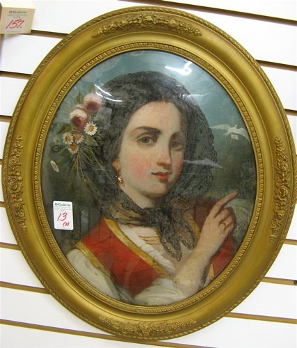 13: PAIR VICTORIAN OVAL OIL PAINTINGS ON HEAVY PAPER la